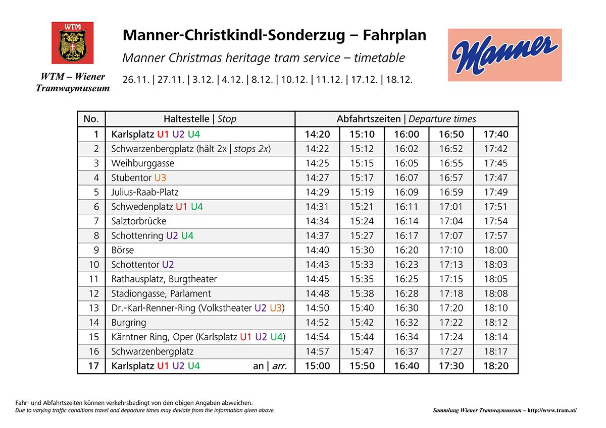 WTM Manner Christkindl Sonderzug Fahrplan 2016