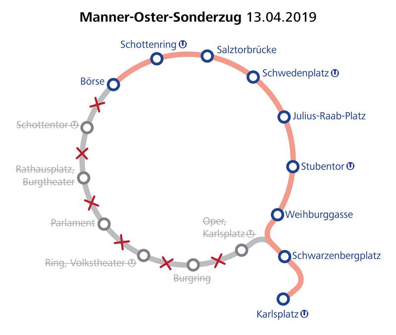 WTM Manner Oster Sonderzug Linienführung am 13.04.2019