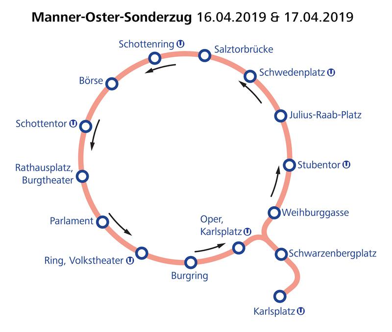 WTM Manner Oster Sonderzug Linienführung am 16. und 17.04.2019