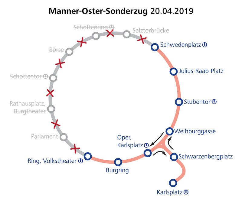 WTM Manner Oster Sonderzug Linienführung am 20.04.2019