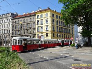 Triebwagen Type M Nr. 4148 + Beiwagen Type k6 Nr. 1530 + Nr. 1518 am Tramwaytag